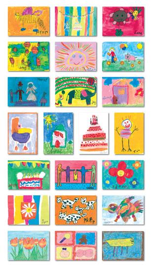 Voorbeelden Schoolkaarten acties tekeningen